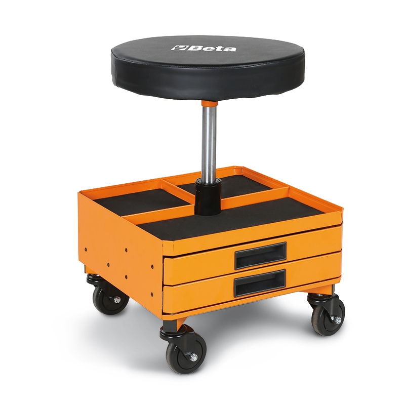 2251-O-SEAT WITH DRAWERS, ORANGE