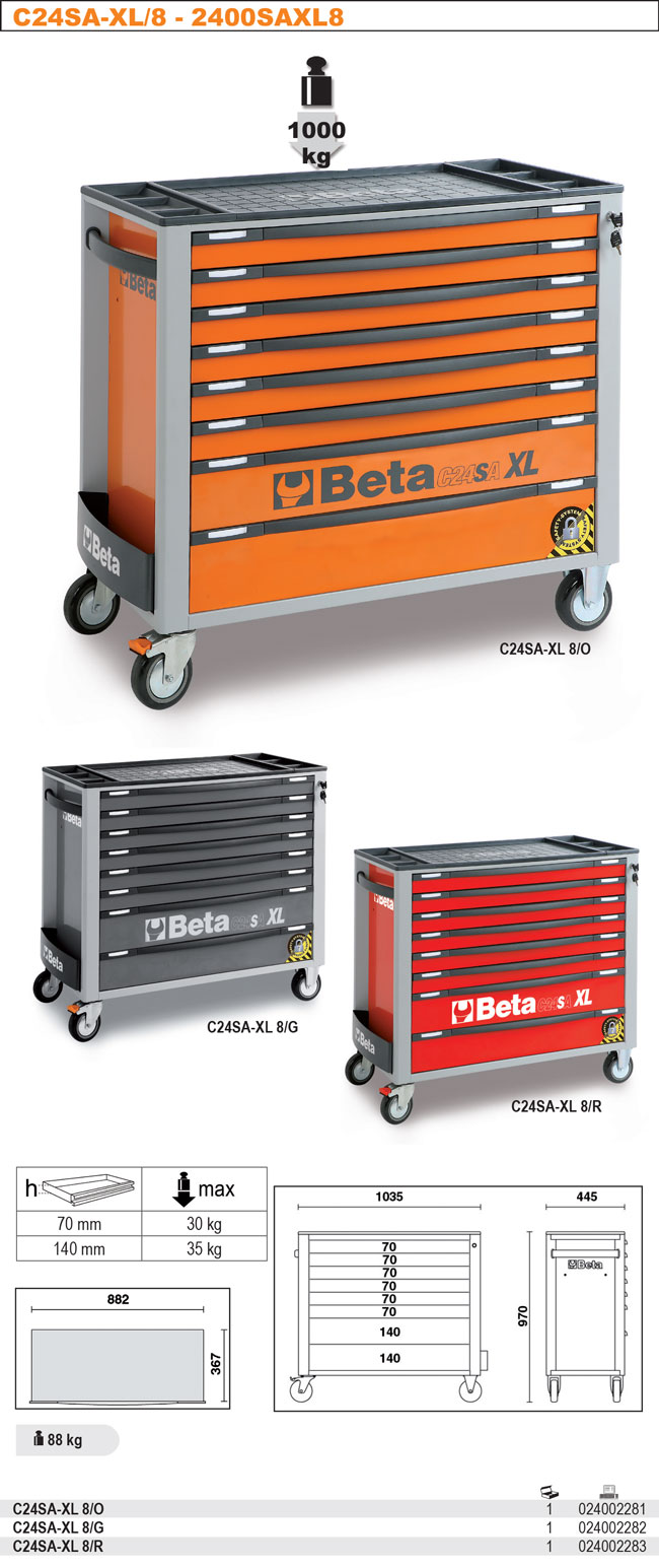 C24SA-XL Ratastel 8 sahtliga tööriistakäru, lai