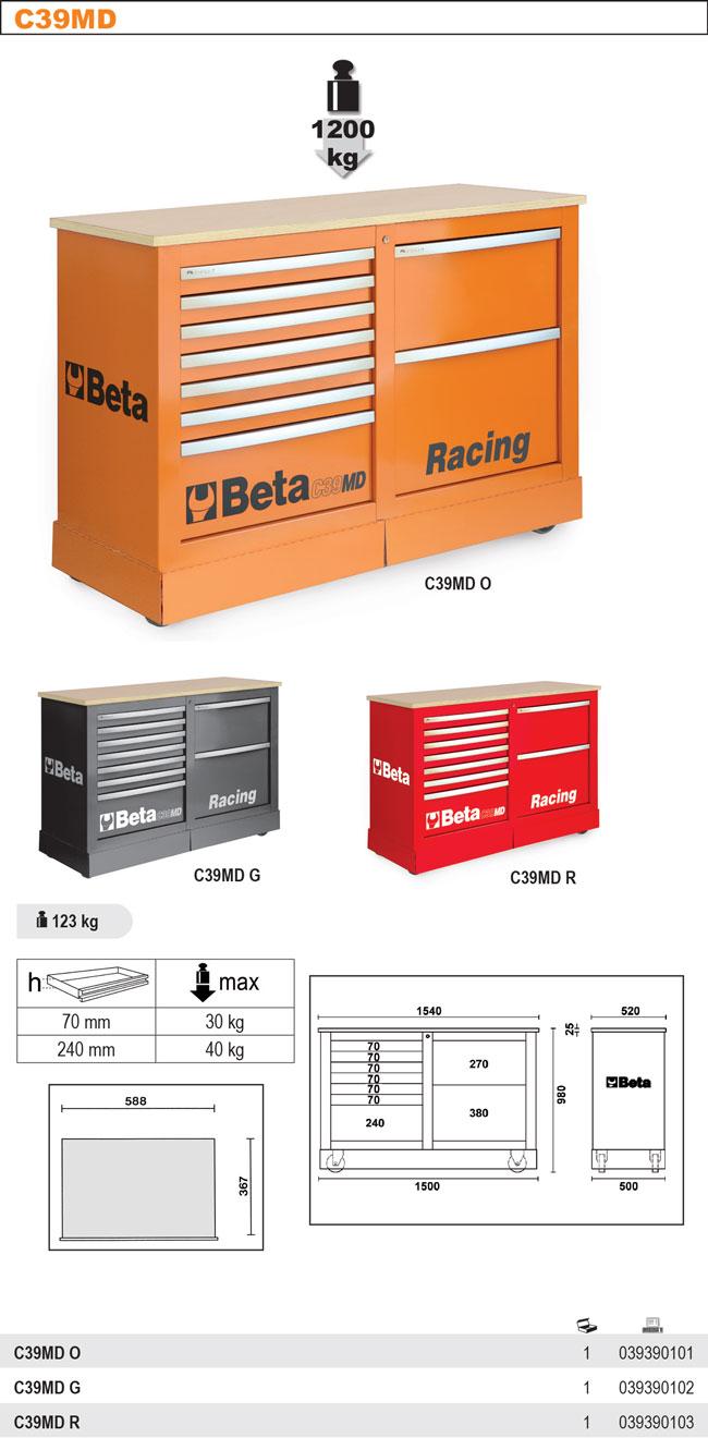 C39 MD Ratastel tööriistakäru ja lisamooduli komplekt