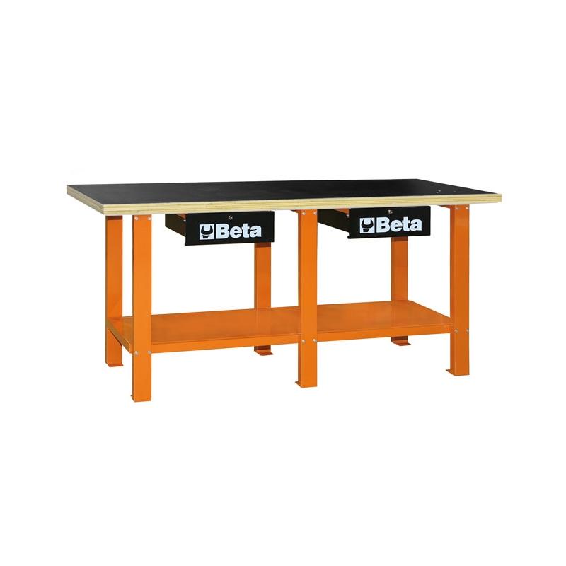 Töökojalaud puidust töötasapinnaga C56W oranž