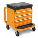 Töökoja iste ratastel ja sahtlitega 2258-O, oranž