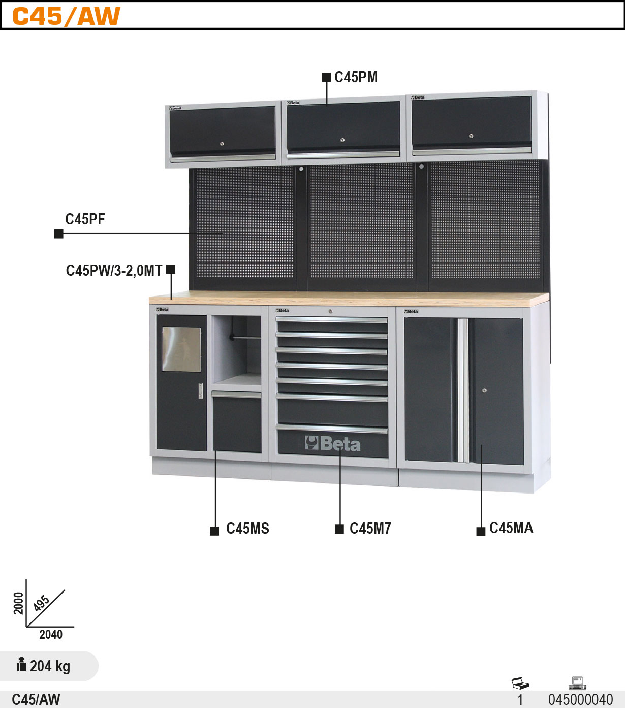 Töötasapinnaga Töökoja sisustuse komplektC45