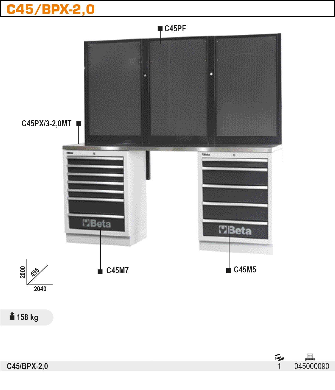 Töötasapinnaga öökoja sisustuse komplekt C45/BPX-2,0